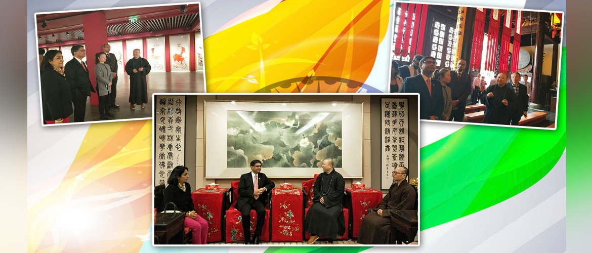 Amb Misri & spouse visited Jade Buddha temple at Shanghai. Chief